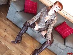 British, Cameltoe, Jerking, Mature, Pantyhose, Redhead, Sexy,