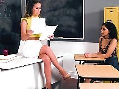 Brunette, Classroom, College, Curly, HD, Lesbian, Makeup, MILF, Oral Sex, Peaches,