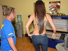 Big Tits, Brunette, Dick, Eva Karera, Jeans, Long Hair, Piercing, Riding, Skinny, Tall,