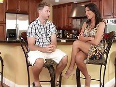 American, Big Tits, Blowjob, Brunette, Kitchen, Lezley Zen, Licking, MILF, Money, Pornstar,