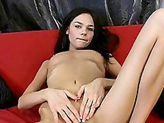 Bold, Boobless, Brunette, Jerking, Long Hair, Long Legs, Panties, Pussy, Sex Toys, Skinny,