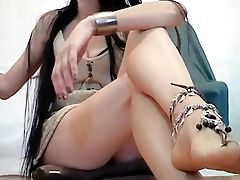 Babe, Fetish, Foot Fetish, Latina, Long Hair, Model, Slim, Solo, Teasing, Upskirt,