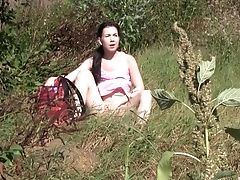 Dildo, HD, Long Hair, Masturbation, Moaning, Model, Natural Tits, Nature, Outdoor, Pussy,