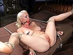 BDSM, Blonde, Bondage, Close Up, Dildo, Domination, Fetish, Gagging, Gloves, Master,