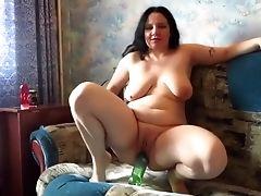 Chica, Botella, Sexo Usando El Puño, Masturbacion,