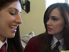 Brunette, Group Sex, Hardcore, HD, Karina White, Lily Carter, Schoolgirl, Skinny, Teen, Threesome,