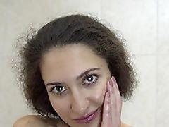Ass, Bathroom, Bold, Boobless, Brunette, Cute, Fingering, Jerking, Moaning, Pussy,
