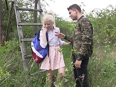 Blonde, Boobless, Couple, Forest, Hardcore, HD, Missionary, Oral Sex, Outdoor, Pussy,