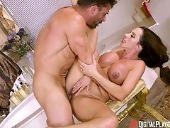 Ariella Ferrera, Bathroom, Big Tits, Blowjob, Couple, Cowgirl, Fake Tits, Fucking, Hardcore, Long Hair,