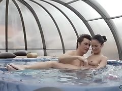 Babe, Couple, Jacuzzi, Natural Tits, Pool,