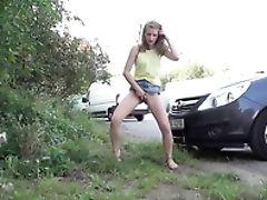 Babe, Miniskirt, Outdoor, Pissing, Public, Skinny, Skirt,