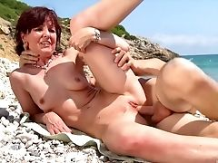 Beach, Blowjob, Doggystyle, Facial, Hunk, Mature, Nude, Old And Young, Outdoor, Redhead,