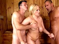 Anal Sex, BBW, Big Tits, Cute, Double Penetration, Sauna, Threesome,