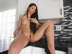 Fingering, Kitchen, Long Hair, Masturbation, Model, Natural Tits, Pussy, Solo,