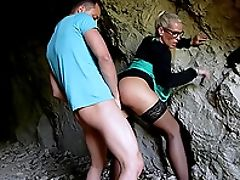 Ball Licking, Blonde, Blowjob, Clothed Sex, Couple, Cute, Doggystyle, Fetish, Glasses, Hardcore,