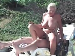 Cumshot, Granny, Outdoor, Threesome,
