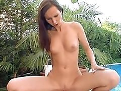 Boobless, Brunette, Close Up, Creampie, Cumshot, Doggystyle, HD, Hunk, Long Legs, Outdoor,