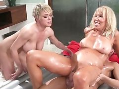 Ass, Babe, Bathroom, Big Tits, Blonde, Blowjob, Boots, Cowgirl, Cum, Cumshot,
