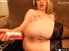 Ass, Bottle, Masturbation, Model, Sex Toys, Solo, Stockings, Webcam,