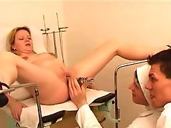 Big Tits, Blonde, Chubby, Doctor, Gyno, Horny, Legs, Spreading,